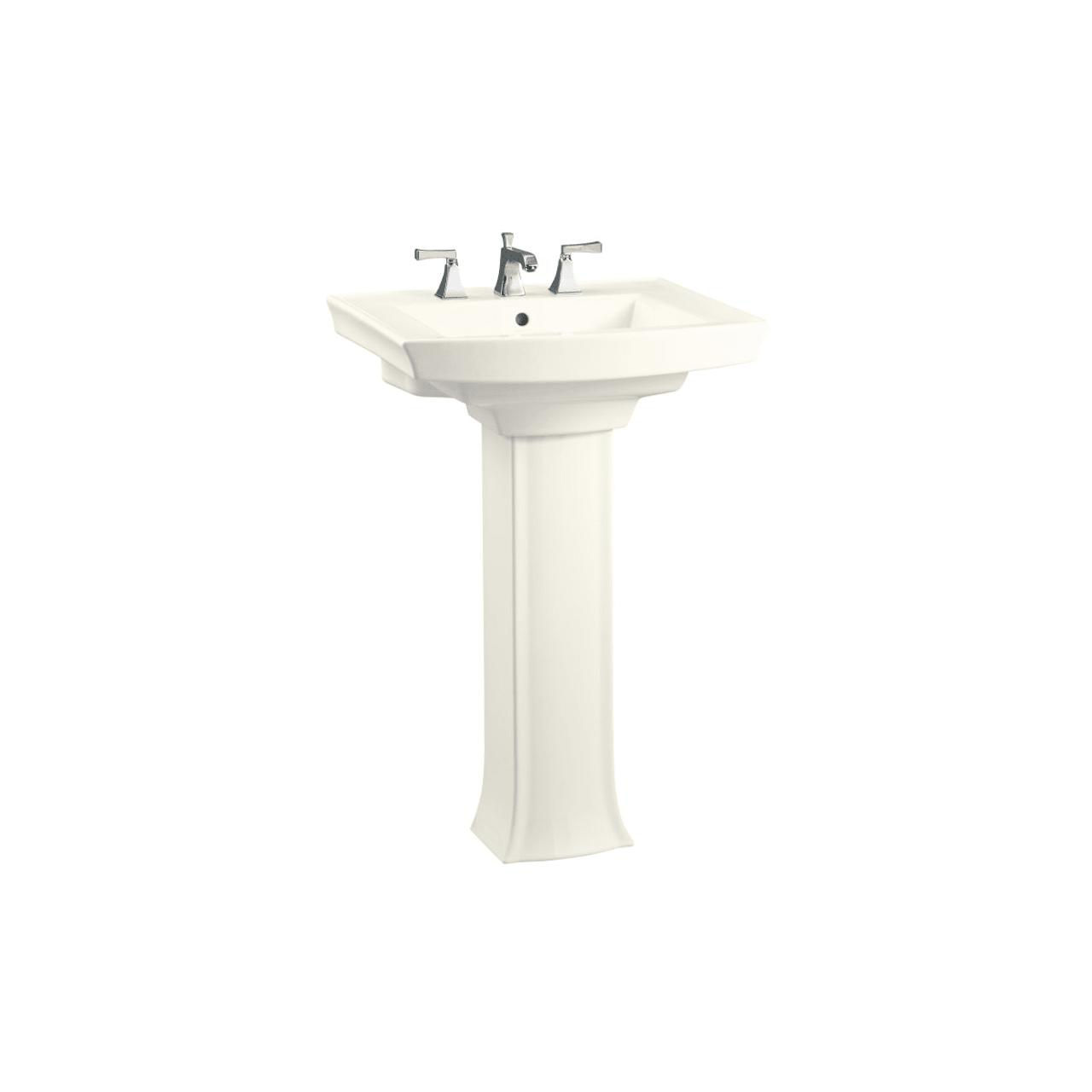 kohler archer 24 pedestal lavatory with single hole faucet drilling