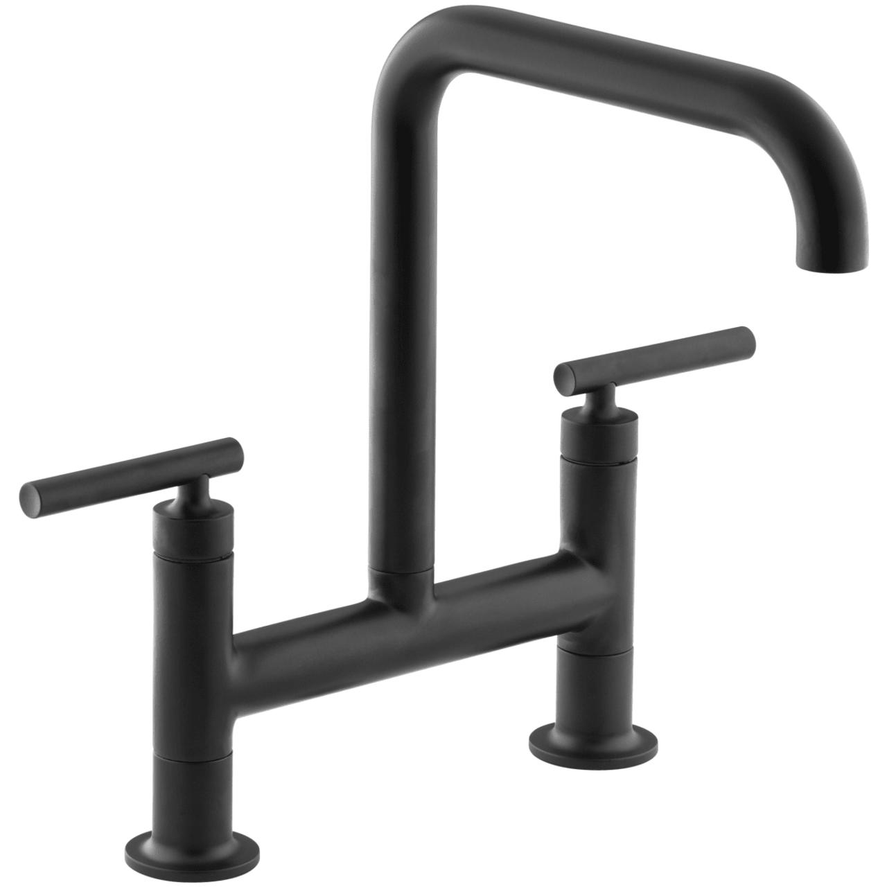 kohler purist double handle bridge kitchen faucet with rotating spout