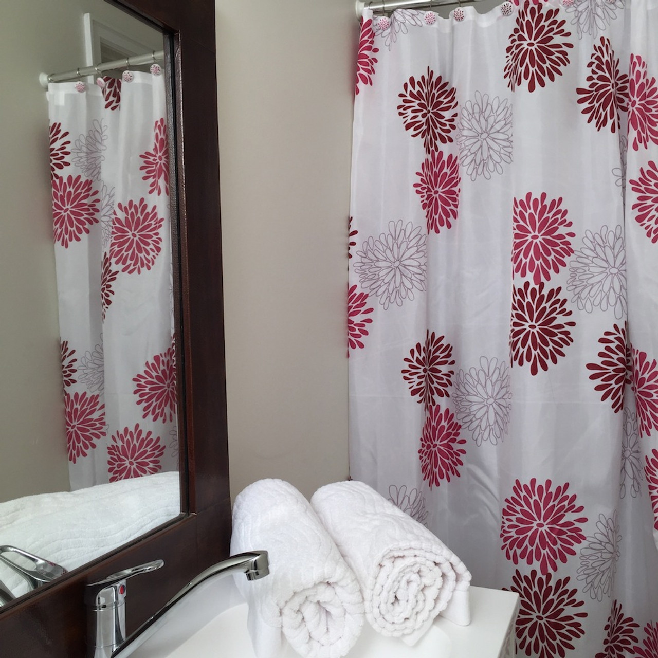 pink shower curtain set 12 decorative hooks flowers