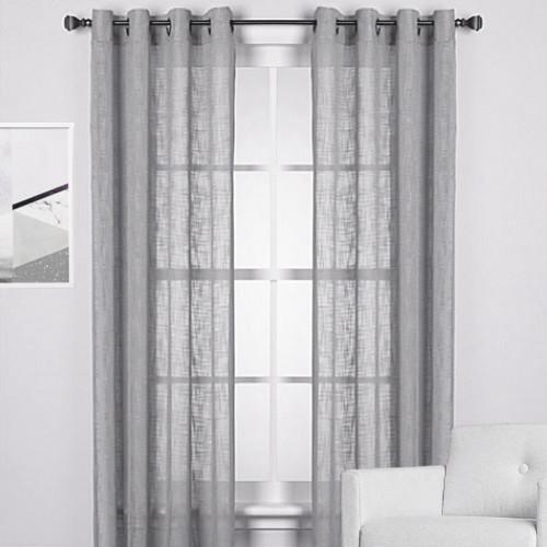 homespun linen look sheer eyelet curtain panel light grey