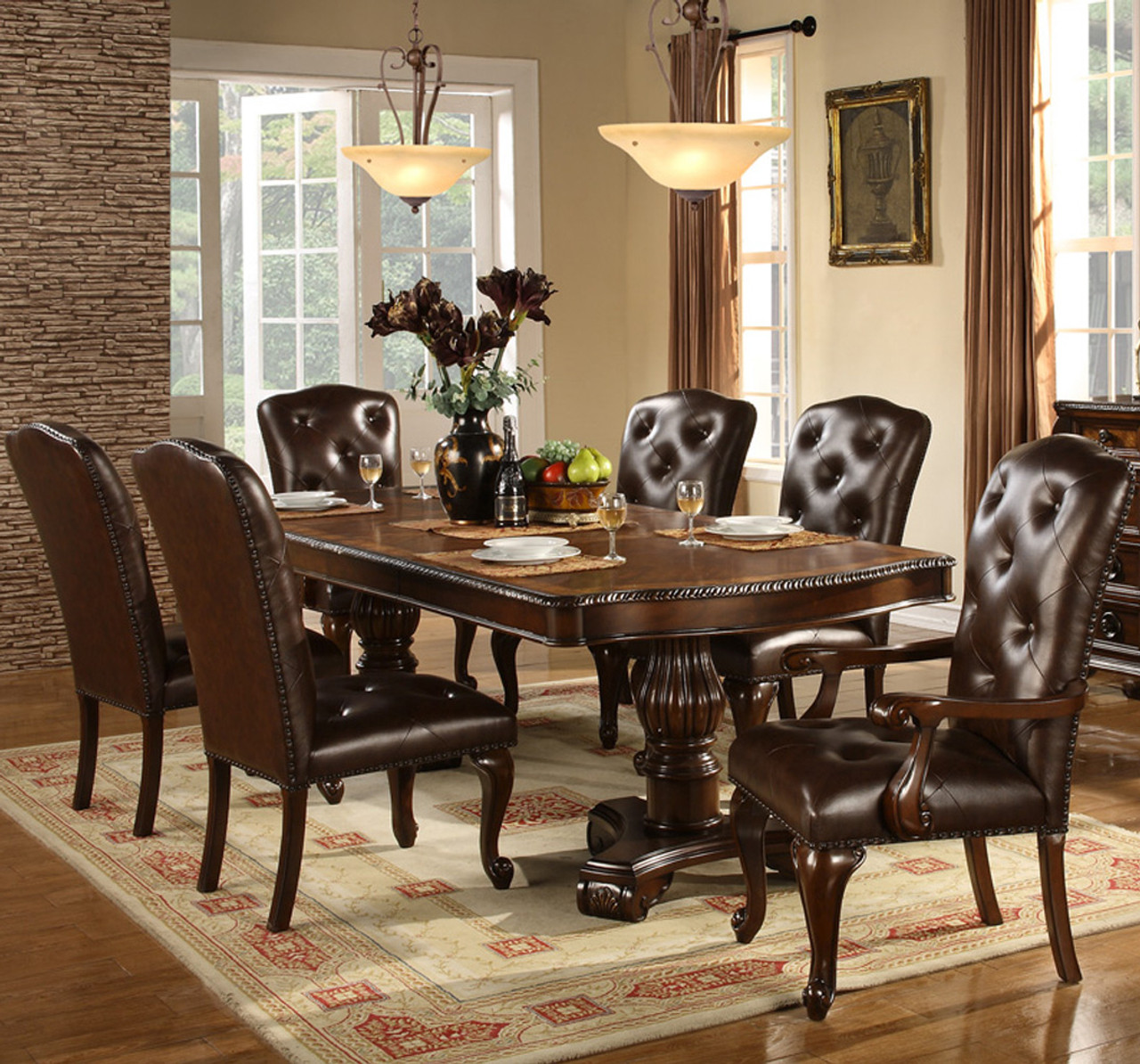 bradford dark brown 7 pc dining set