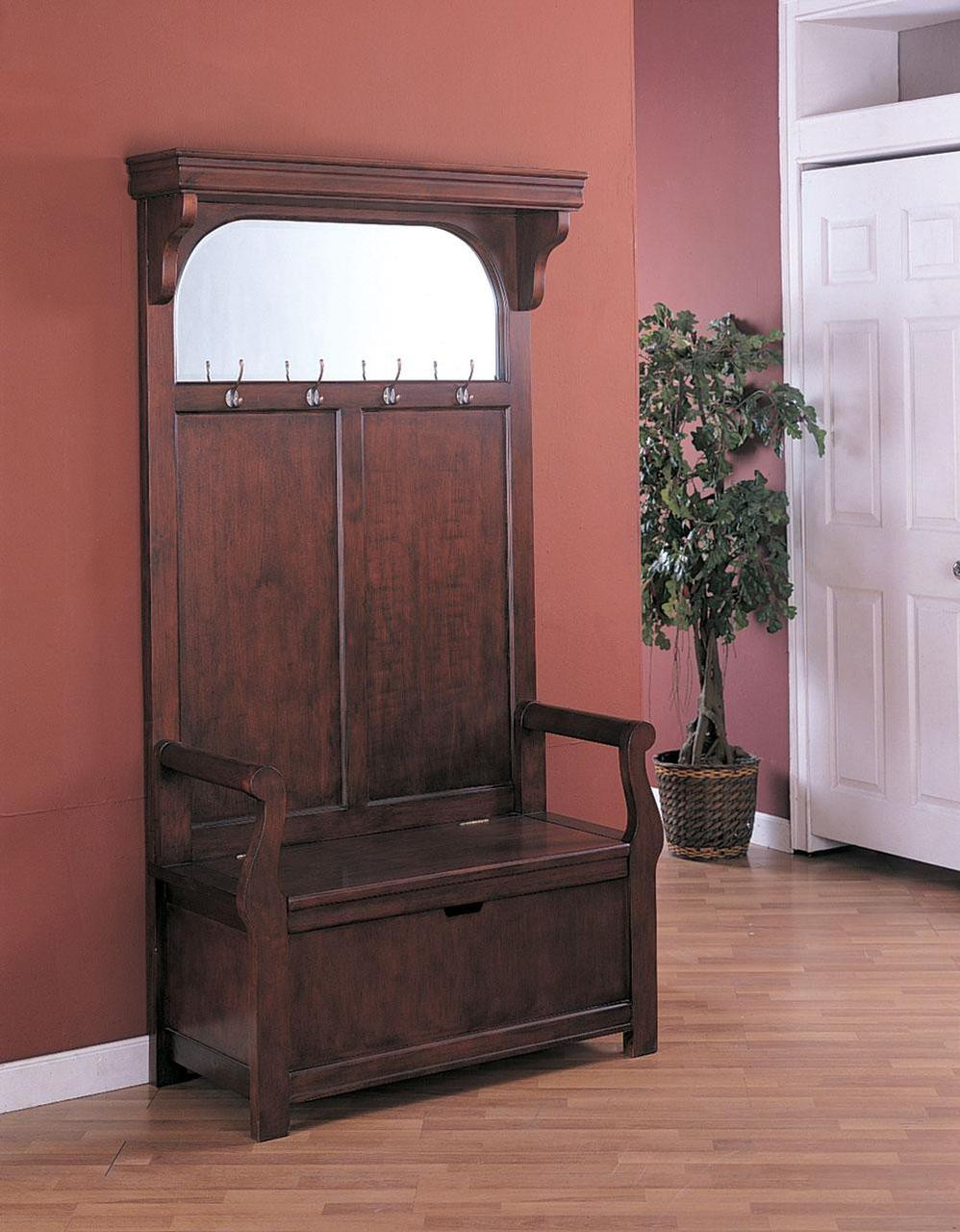 mike cherry hall tree with mirror storage bench coat hooks