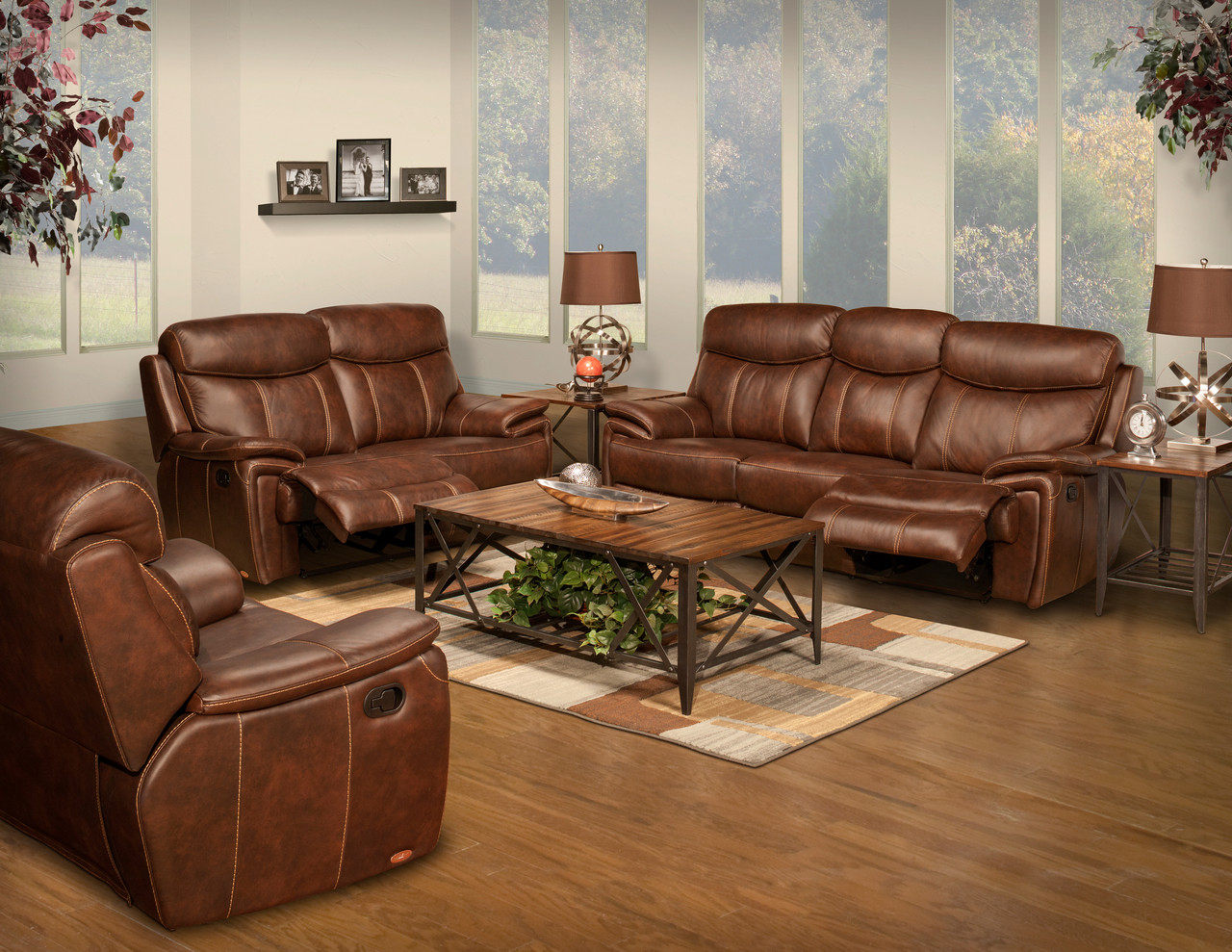 Legend Brown Top Grain Leather Reclining Sofa
