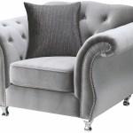 Lanah Silver Velvet Tufted Arm Chair Cb Furniture