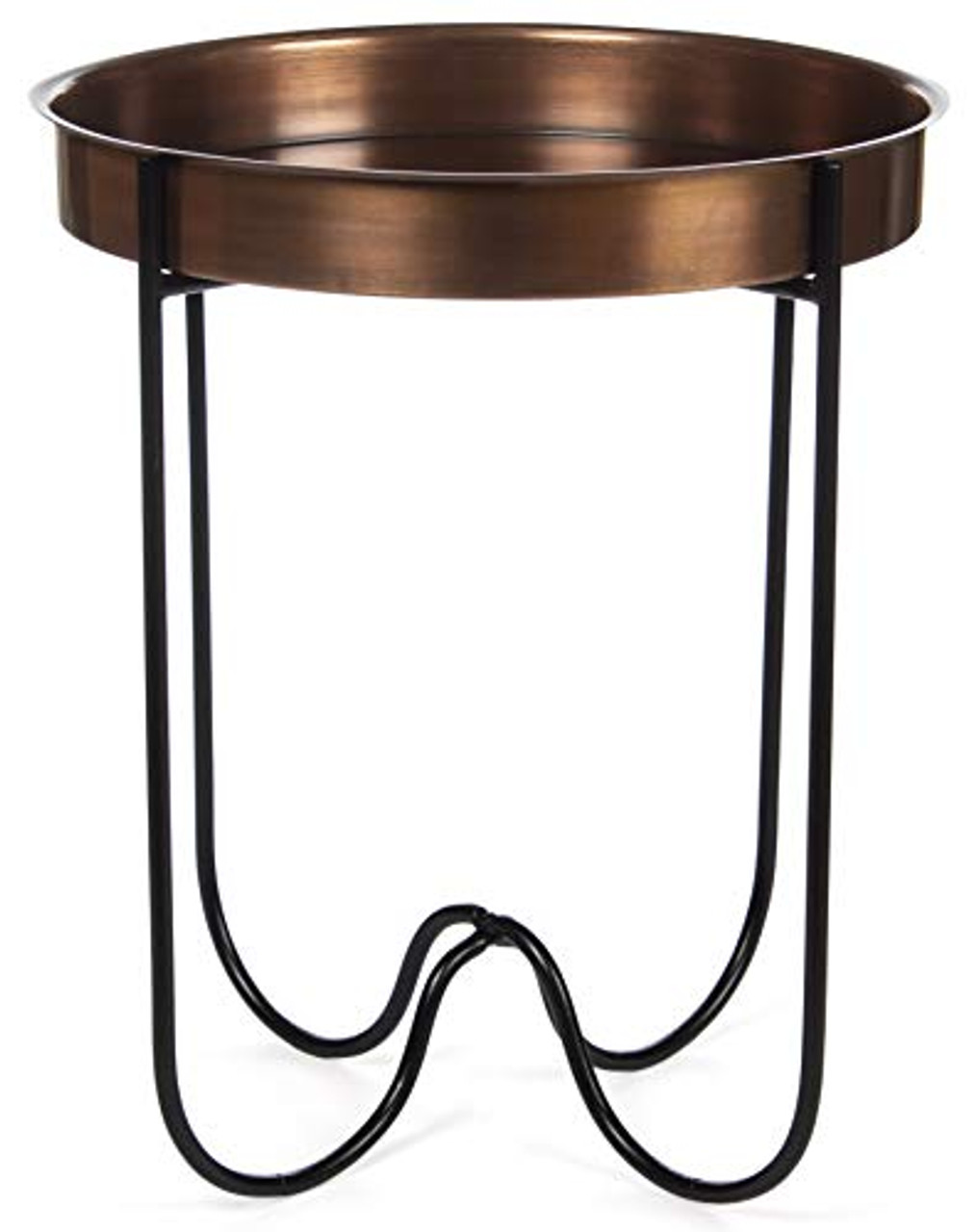 h potter indoor outdoor side patio table antique copper finish quick folding removable round metal tray