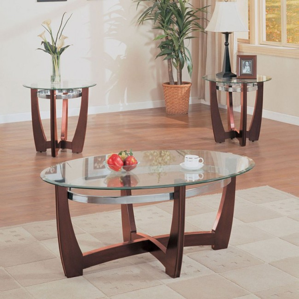The Baldwin 3pc Glass Top Coffee Table Set Miami Direct Furniture
