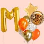 Safari Theme With Letter Foil Balloon Bouquet
