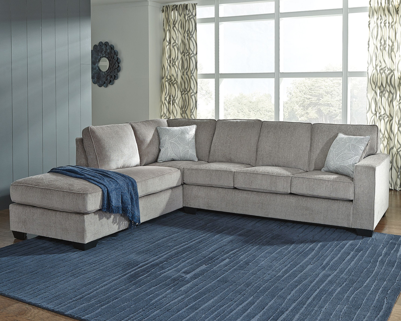 ashley altari alloy 2 piece sectional with chaise