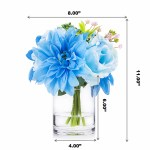 Mixed Silk Rose And Dahlia Flower Arrangement In Clear Glass Vase With Faux Water Blue Enova Home