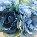 Blue Peony Rose And Hydrangea Mixed Faux Flower Arrangement With Clear Glass Vase Enova Home