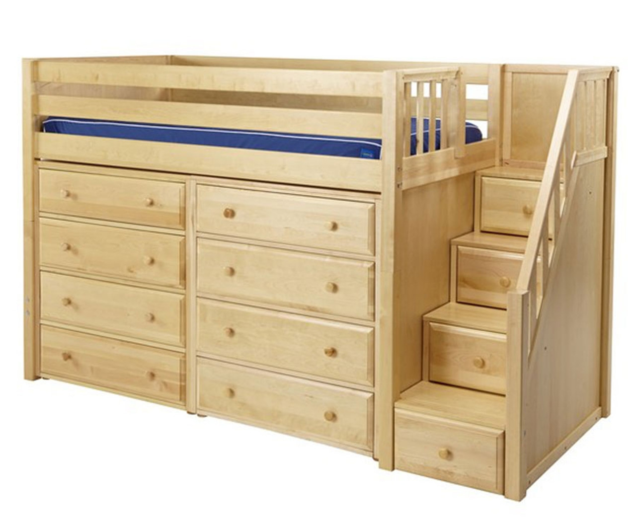 maxtrix galant mid loft bed with stairs dressers twin size natural