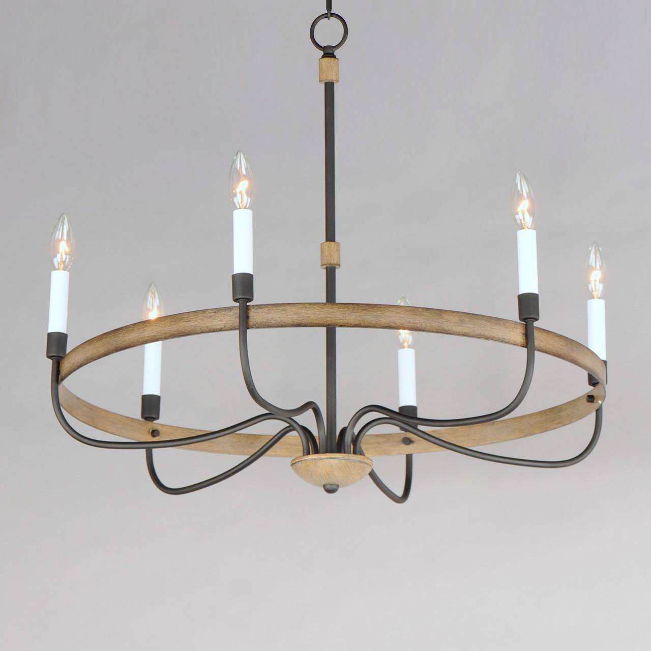 franklin 6 light rustic chandelier by maxim lighting