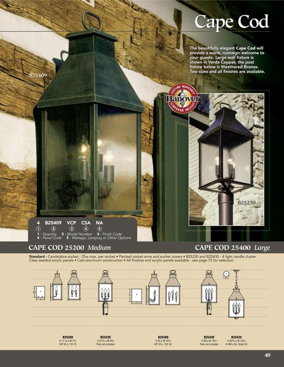 hanover lantern b25209 medium cape cod wall mount