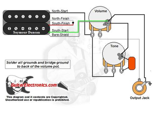 guitar wiring diagrams  1 humbucker/1 volume/1 tone