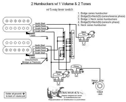 2 humbuckers/5way lever switch/1 volume/2 tone/03
