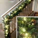 9 Foot Lighted Christmas Garland With Pine Cones Birddog Lighting