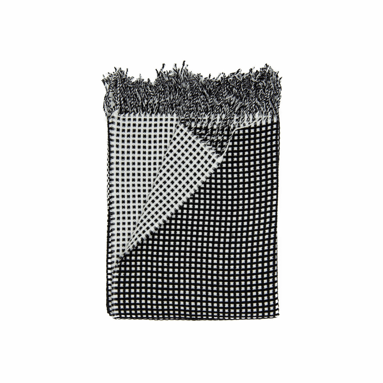 In 2 Linen Waffle Knitted Throw Rug Natural Black