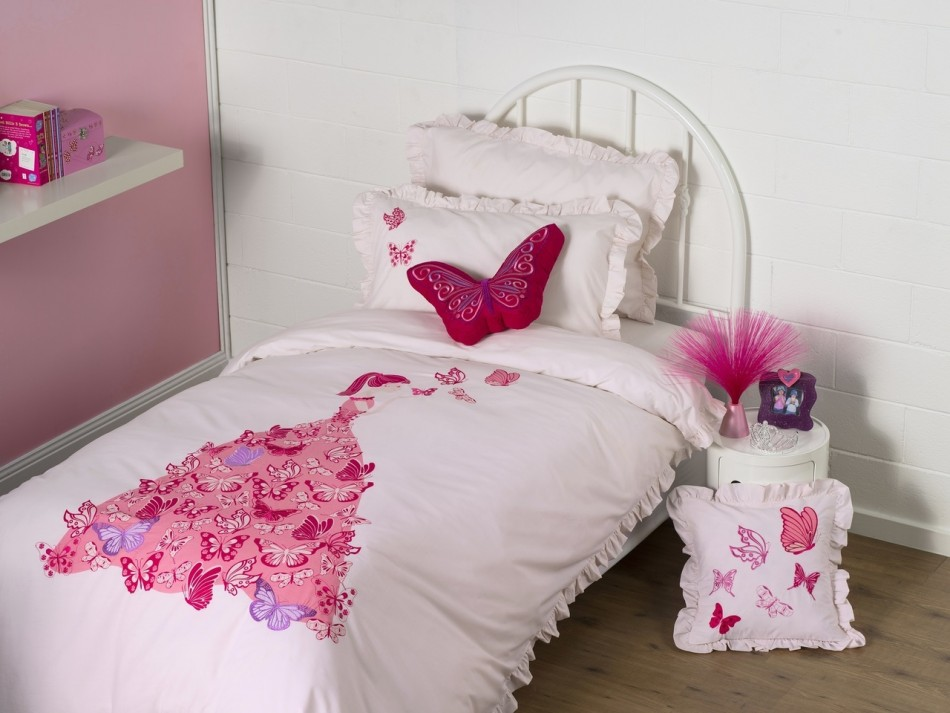 kas kids butterfly dress queen bed quilt cover set