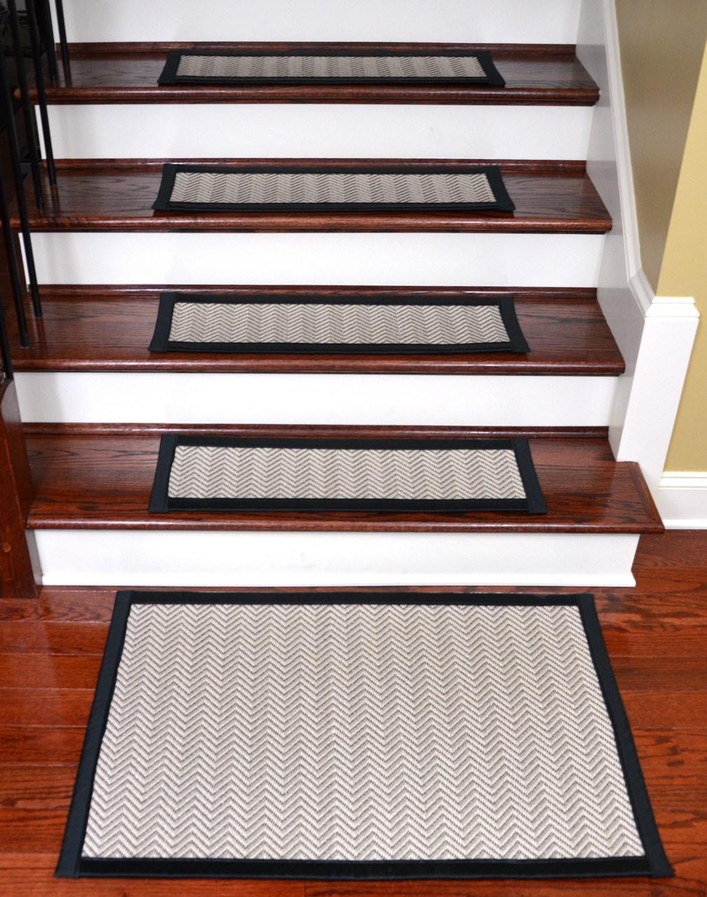 Hatteras Flatweave Stair Treads Tape Free 15 Pk   Non Slip Strips For Carpeted Stairs   Grip   Stair Nosing   Gravel   Slip Resistant   Brown Cinnamon