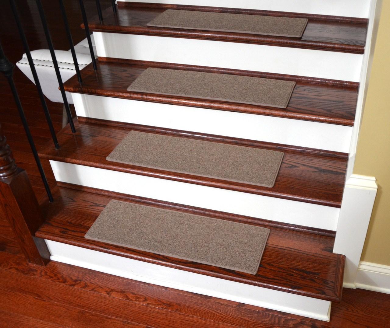 Non Slip Tape Free Carpet Stair Treads For Dogs Set Of 15 | Rug Stair Treads Non Slip | Bullnose Carpet | Gloria Rug | Slip Resistant | Tread Covers | Flooring
