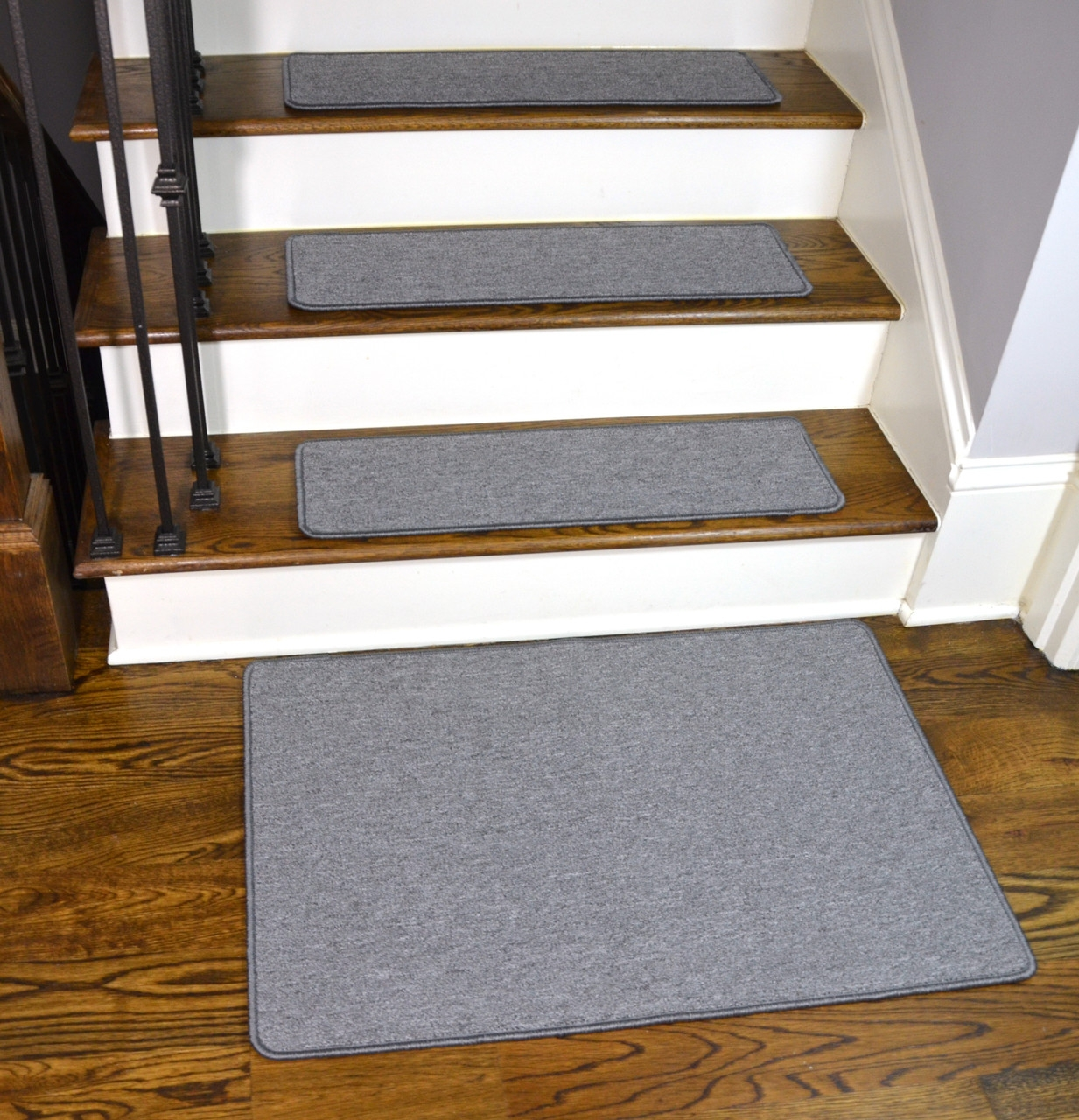 Limestone Gray Washable Stair Treads With Landing Mat | Gray Carpet Stair Treads | Black | Set | Wood | Grey Patterned | Fitting Loop Pile Carpet