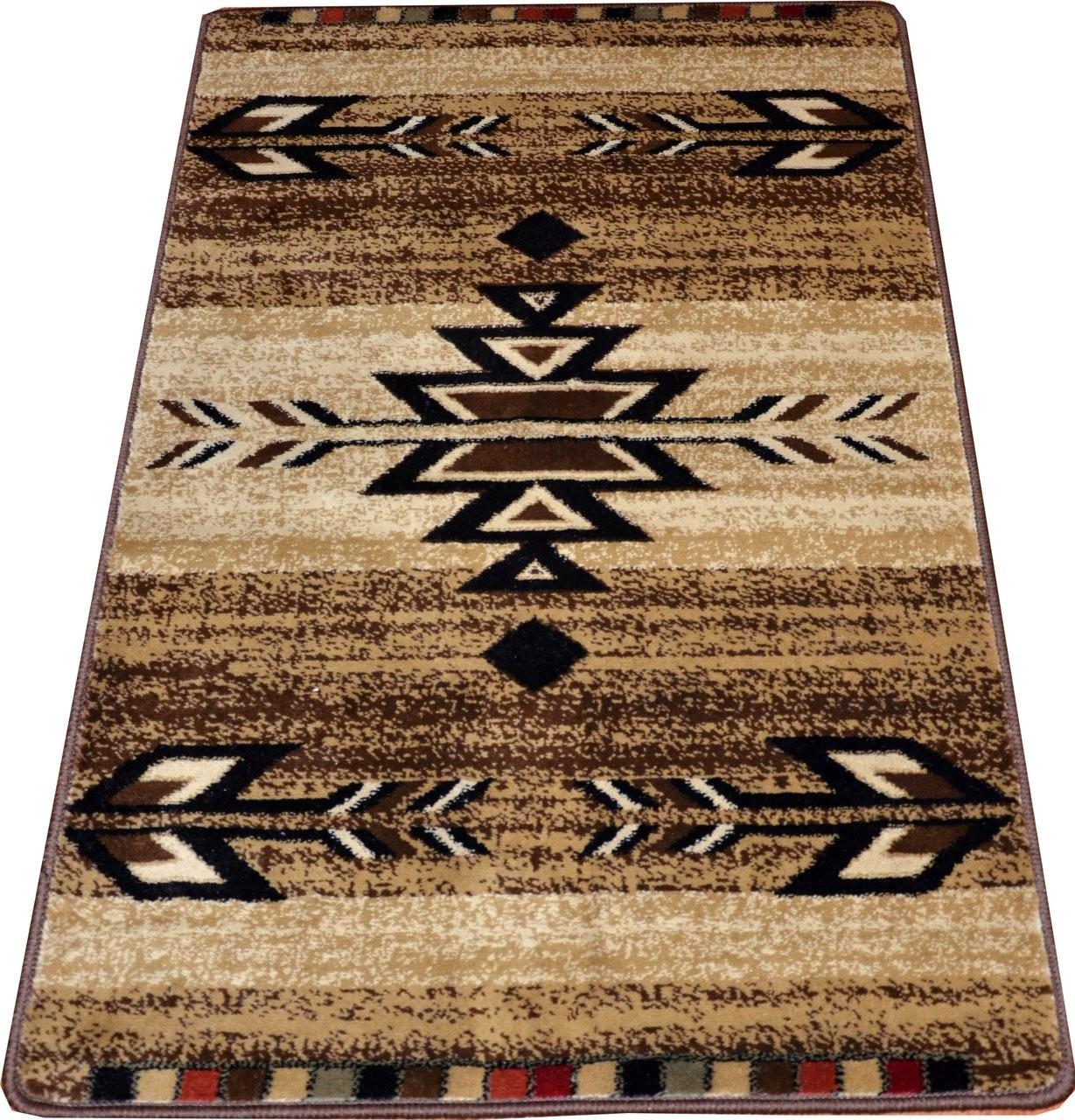 Dean Santa Fe Beige 31 W Southwestern Lodge Cabin Carpet Rug | Hallway Carpet Runners Sold By The Foot | Rug Depot | Hall | Woven Rug | Wool Rug | Fleur De Lis
