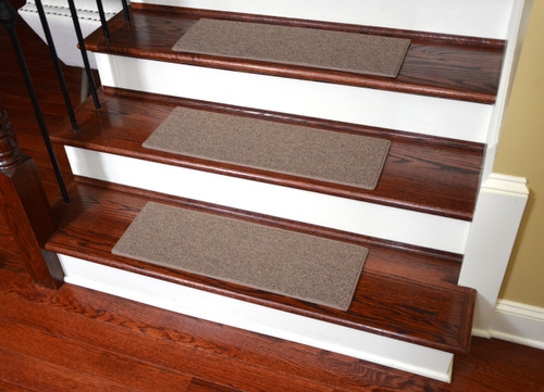 Non Slip Tape Free Carpet Stair Treads For Dogs Set Of 15   Hardwood Floors And Carpet Stairs   Top Step Carpet   Middle   Decorative   Wood   Colour Wall