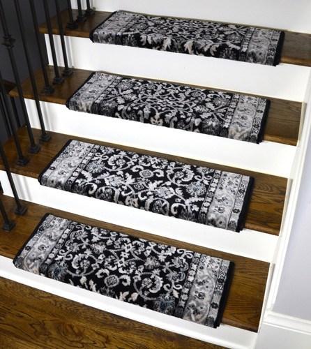 Dean Stratford Keshan Black Bullnose Carpet Stair Treads | Black Carpet Stair Treads | Bullnose | Slip Resistant | Interior | Gray | Indoor