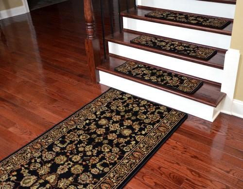 Dean Premium Carpet Stair Treads Elegant Keshan Ebony 31 X 9 | Plush Carpet Stair Treads | True Bullnose Carpet | Super Soft | Anti Slip | Wool Carpet | Wall Carpet