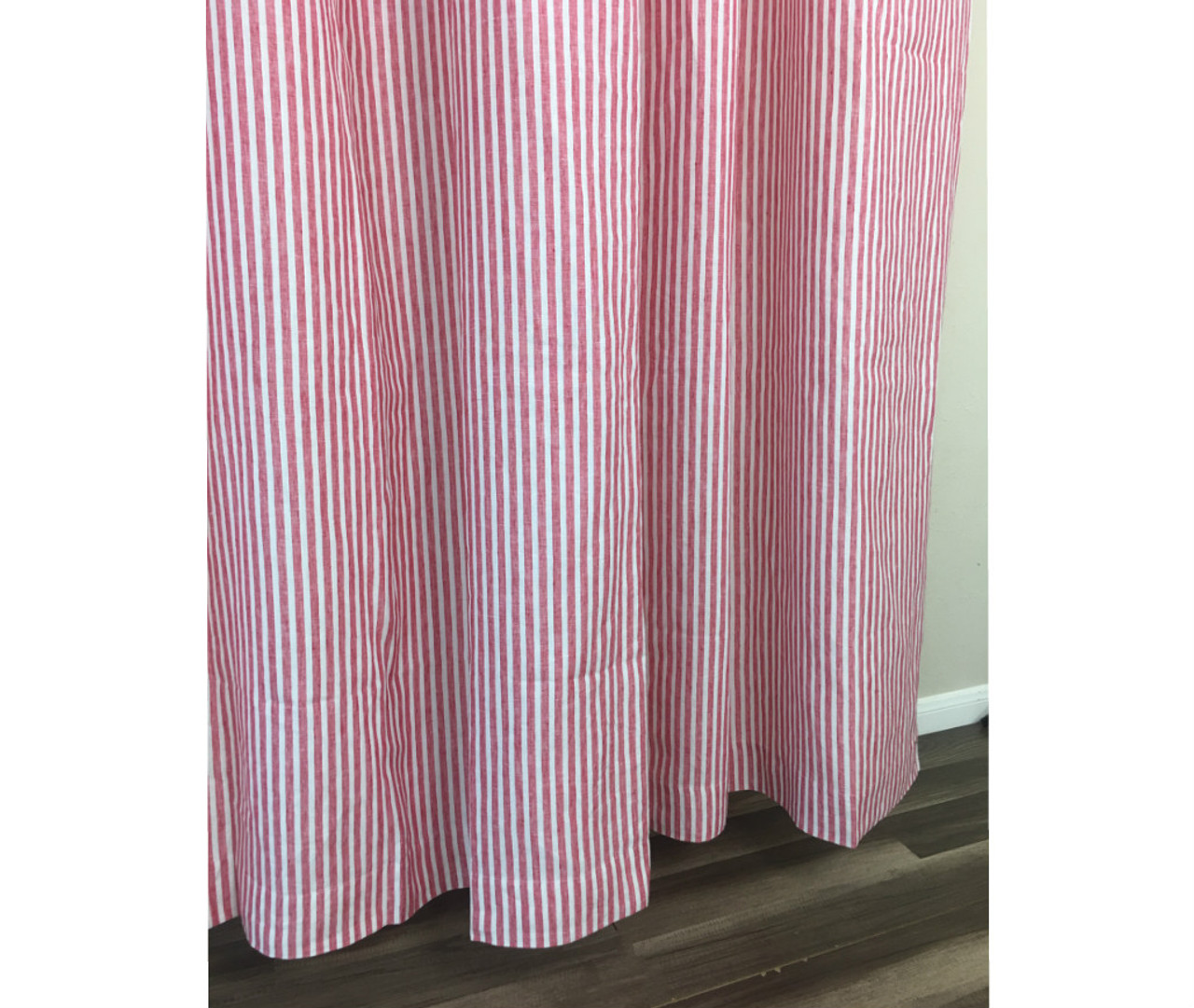 red and white striped linen shower curtain