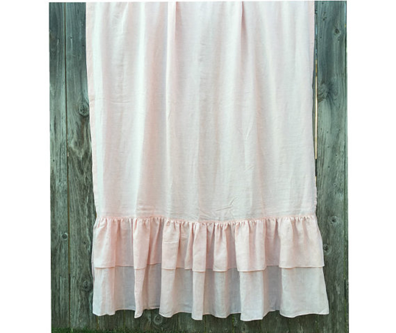 pink shower curtain with two tiered of mermaid long ruffles