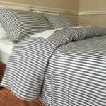 Slate Gray And White Striped Linen Duvet Cover Natural Linen Custom Size Queen King Calif King Twin
