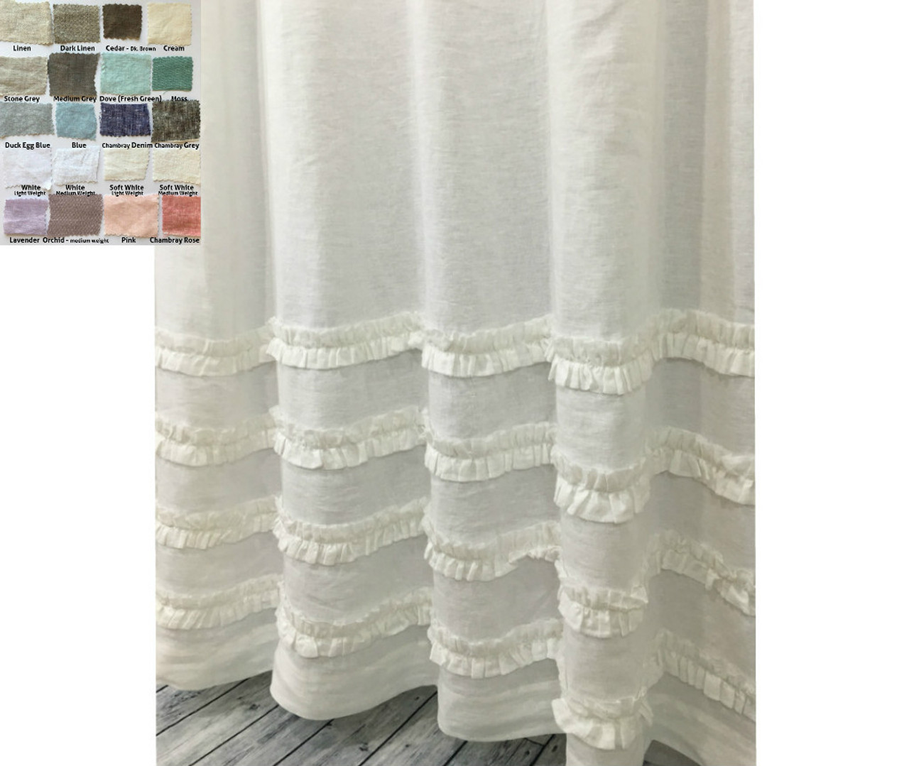 Linen Shower Curtain With 4 Rows Of Ruffles Pick Color