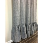 Chambray Grey Linen Shower Curtain With 2 Tiered Layer Mermaid Long Ruffles 72x72 72x84 72x95 Or Custom Size