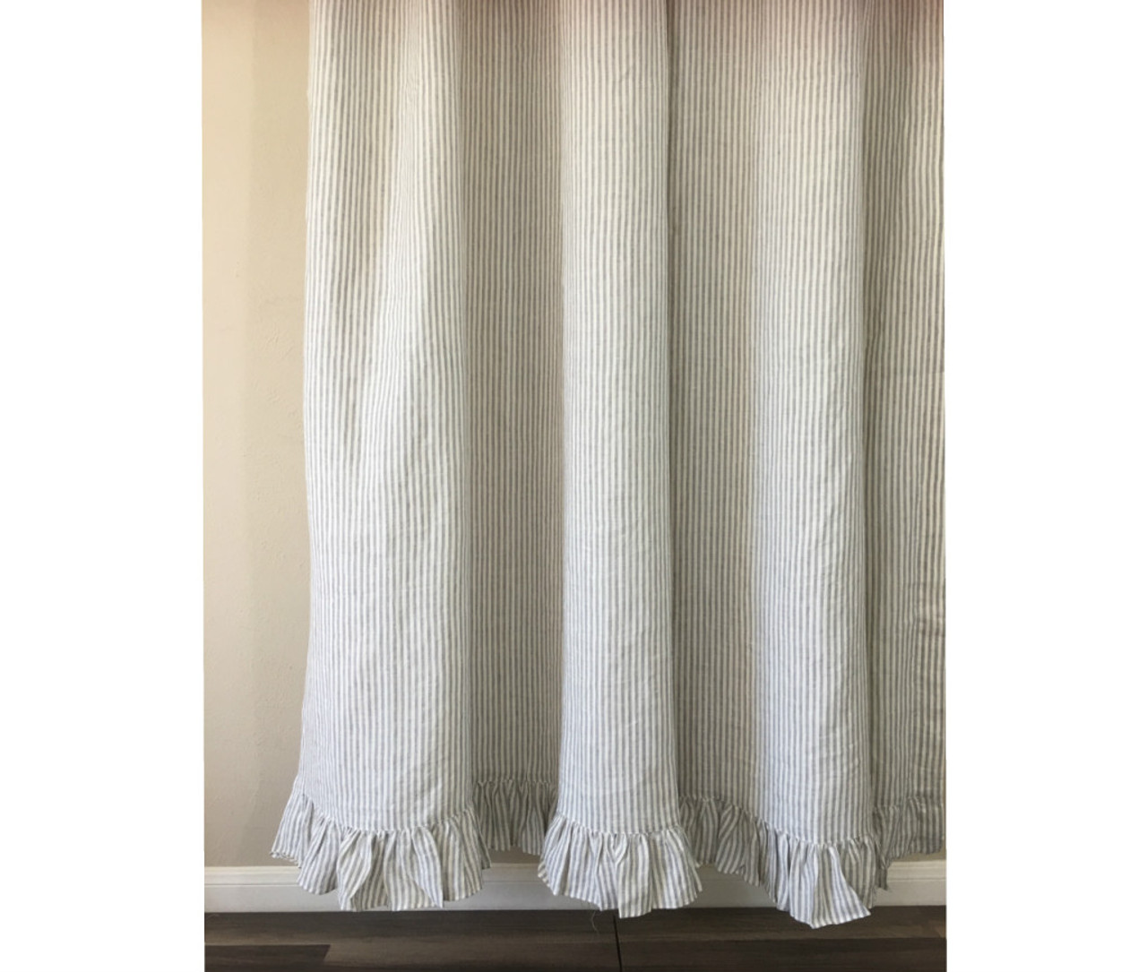 grey and white striped shower curtain with self ruffles