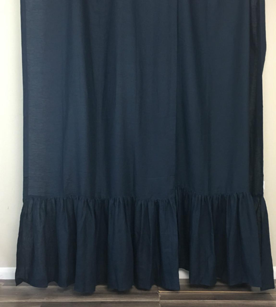 black knight linen shower curtain with mermaid long ruffles