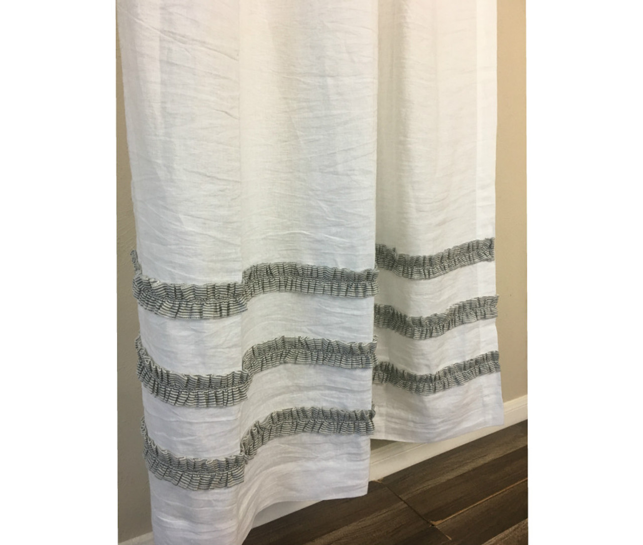 White Linen Shower Curtain With Black And White Ticking Striped Ruffles 3 Rows Of Ruffles