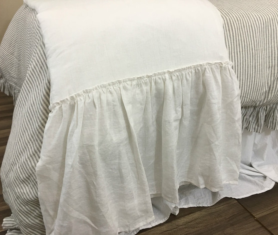 Linen Long Ruffle Bed Scarf Bed Runner Multiple Colors