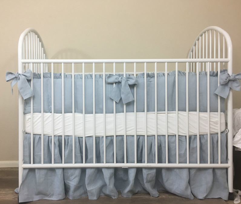 duck egg blue baby bedding set with sash ties