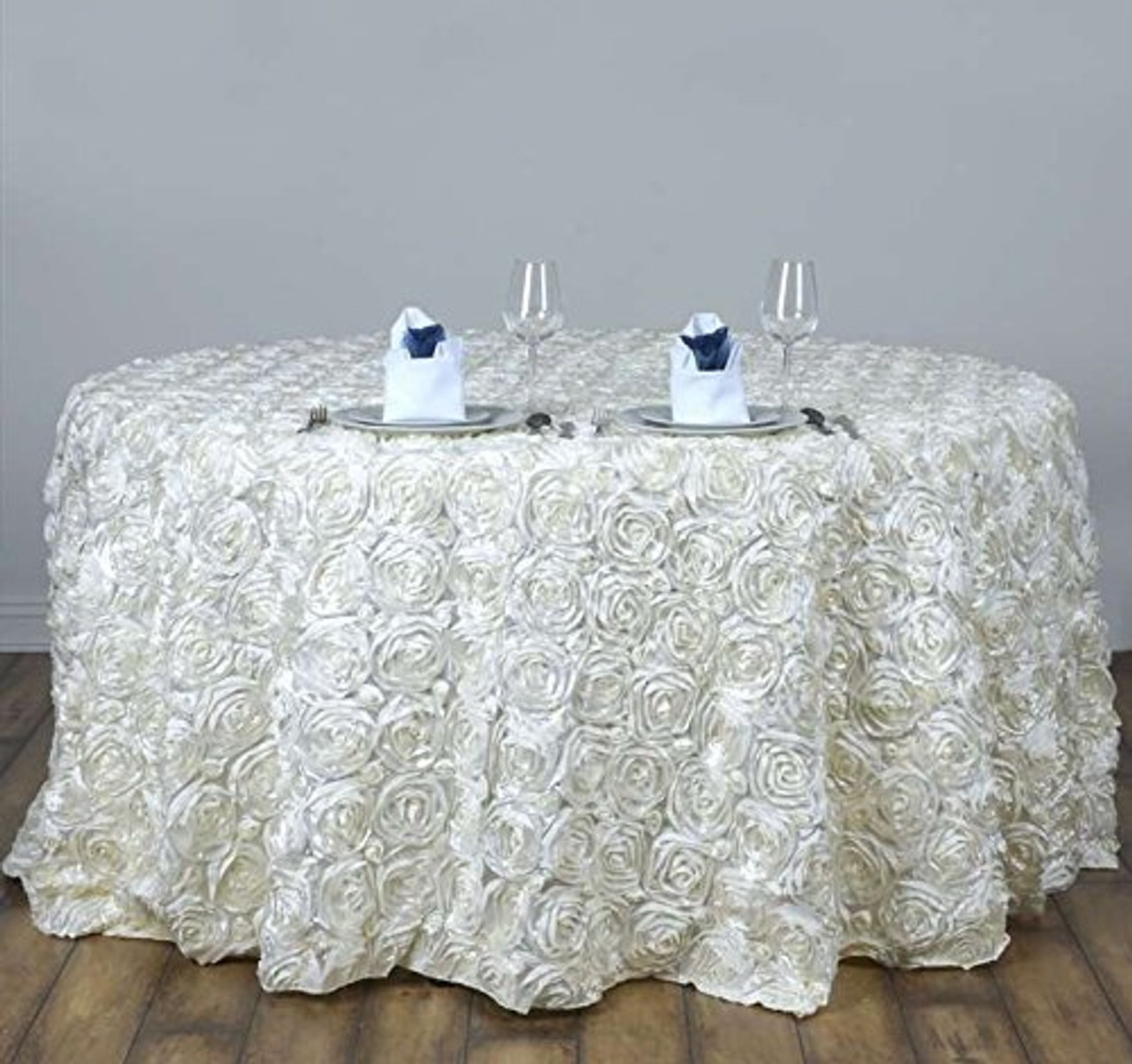 ak trading tablecloth 108 inch round rose grandiose rosette tablecloth tablecover ivory