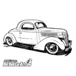 1936 Ford Coupe Hot Rod Car Art