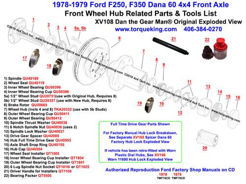 Ford F250 F350 Dana 60 Front Wheel Hub