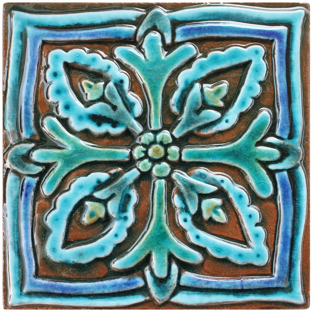 handmade tile turquoise suzani 3 15cm 5 9