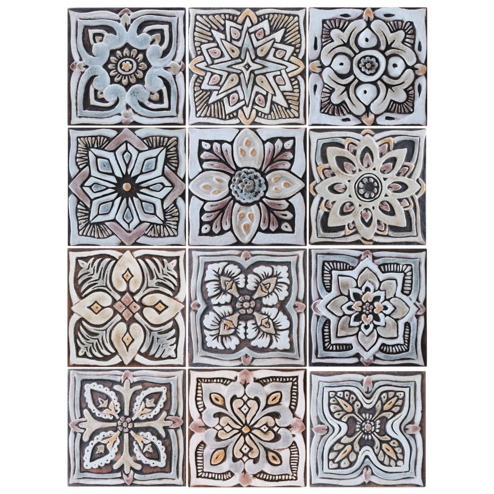 handmade tile set12 matt brown 15cm 5 9
