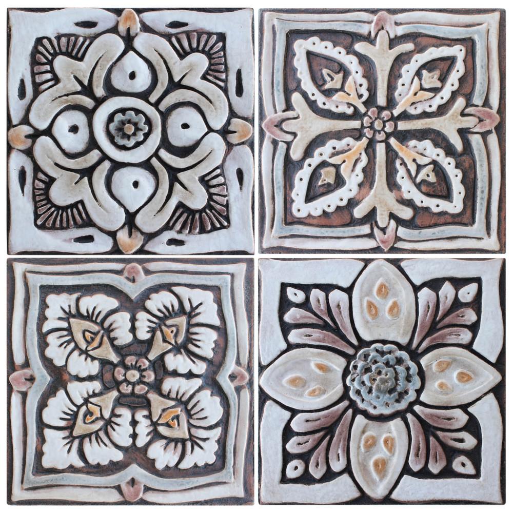 handmade tile matt brown set4 suzani 15cm 5 9