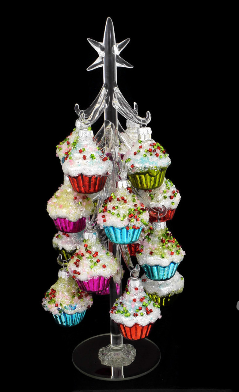 cupcake ornaments on clear table top glass tree decor 11 3 4 rgmtx61862
