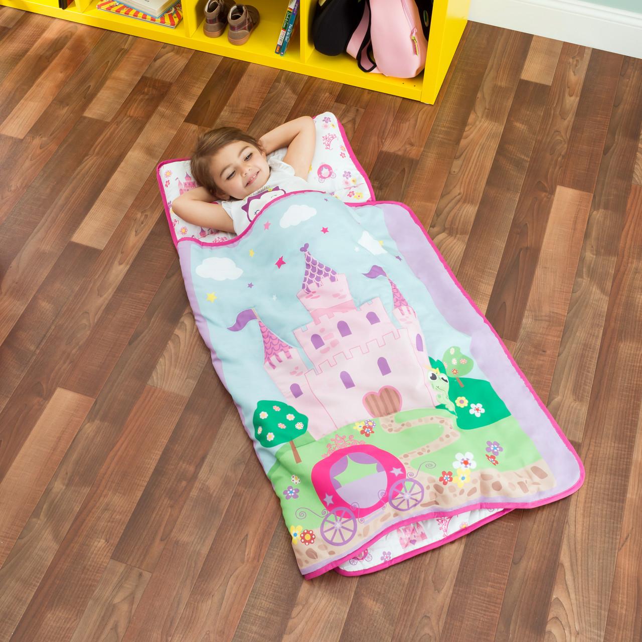 everyday kids toddler nap mat with pillow princess storyland
