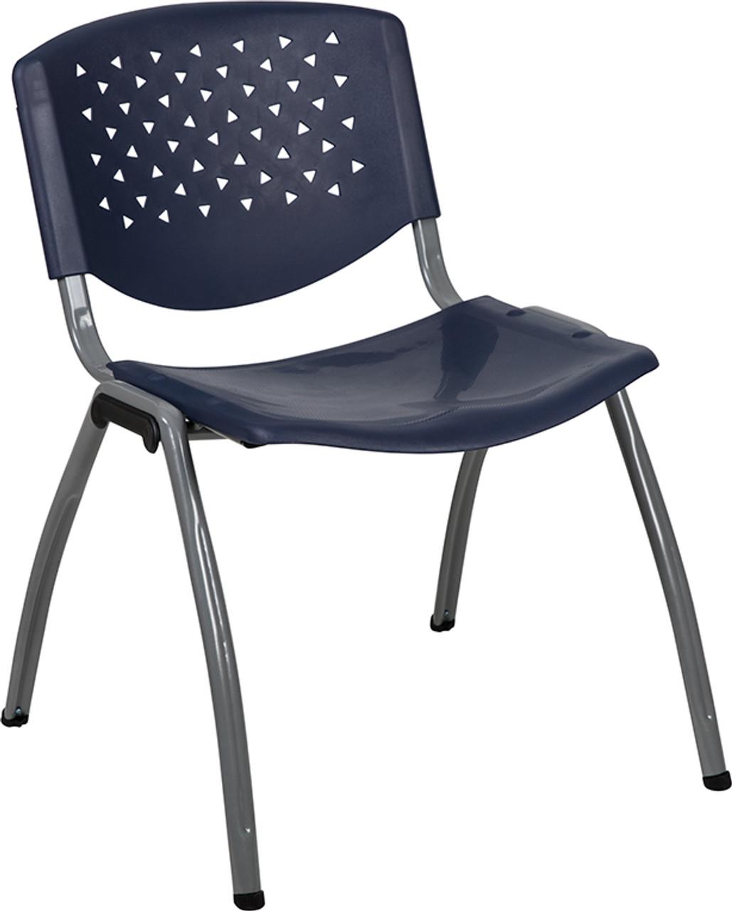 Flash Furniture Heavy Duty Navy Blue Plastic Multi Purpose Stack Chair