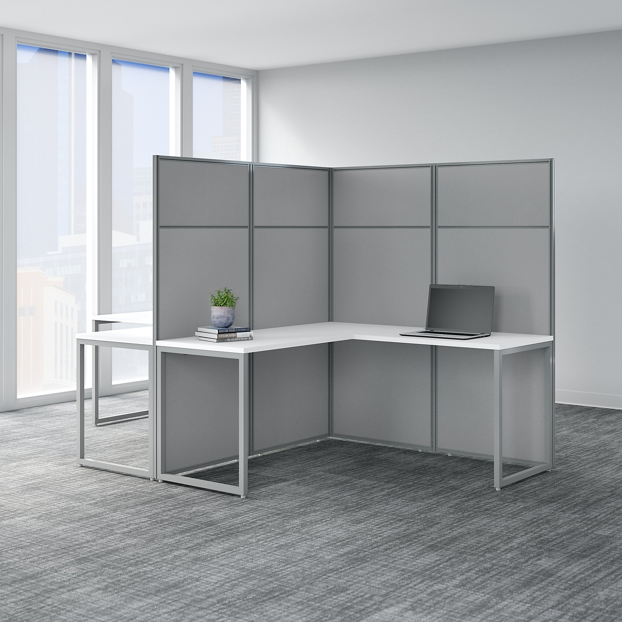 Bush Business Furniture Easy Office 2 Person L Shaped Cubicle Workstation With 66h Panels