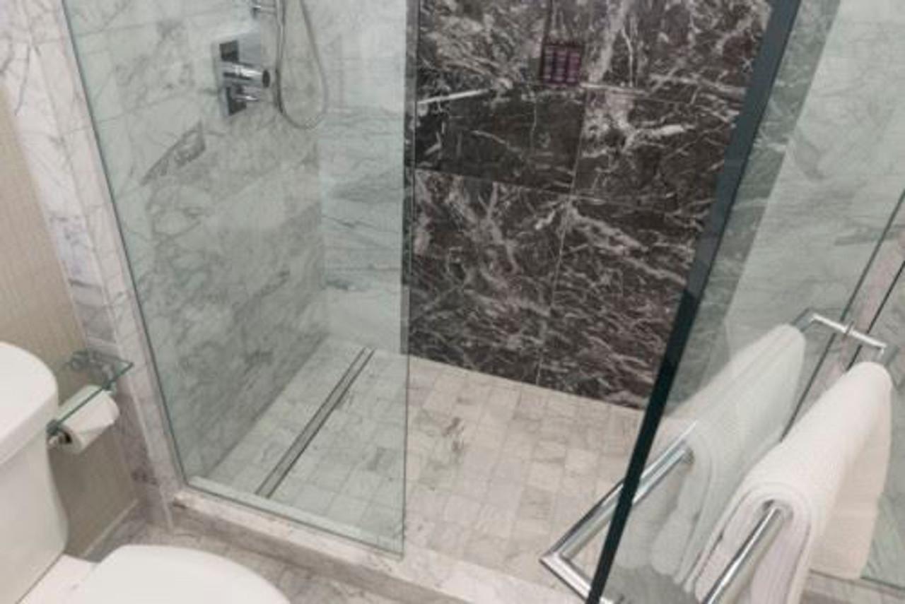 64 showerline drain pan sloping kit curbed tiled shower